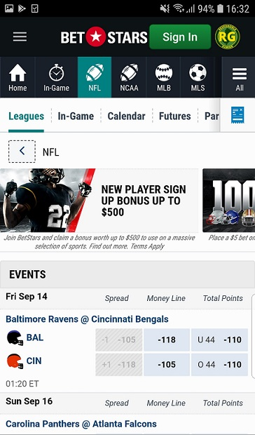 BetStars NJ Android NFL Leagues page