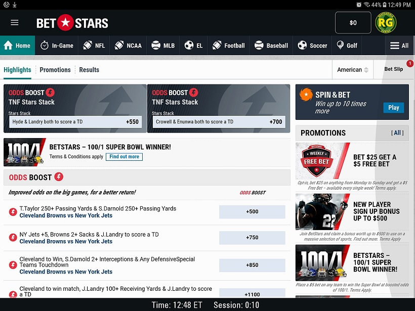 BetStars NJ App Homepage