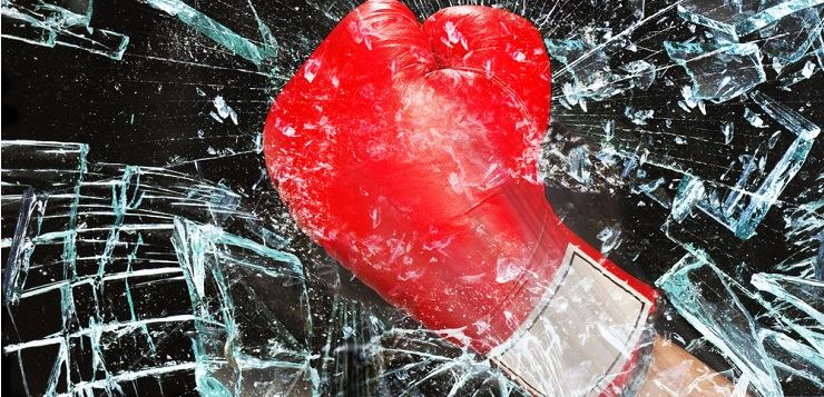 Boxing glove through glass