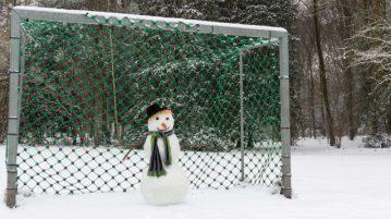 snowman in soccer goal
