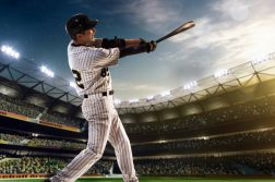 baseball player home run swing