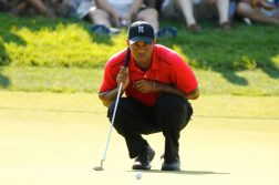 tiger woods crouching