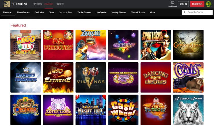 BetMGM casino lobby on desktop