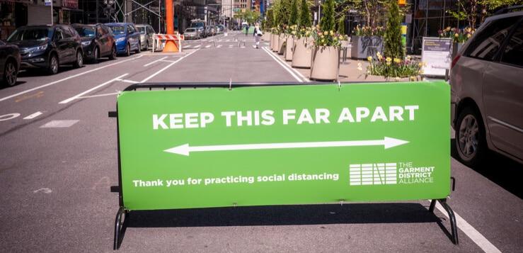 new york city social distancing sign