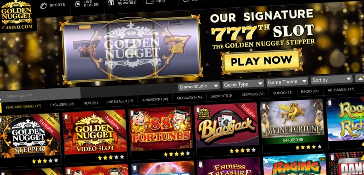 golden nugget online casino home screen
