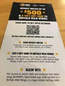 buffalo wild wings betmgm promo