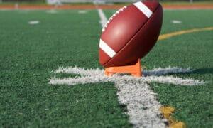 football kickoff on tee