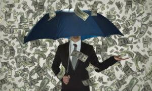 raining money umbrella